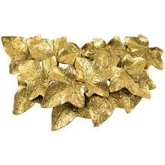 Sonia Rykiel Paris Gilt Metal Pin Brooch Oversized Textured Leaves