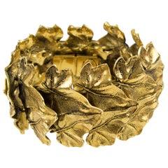 Sonia Rykiel Paris Link Bracelet Massive Gilt Metal Textured Leaves