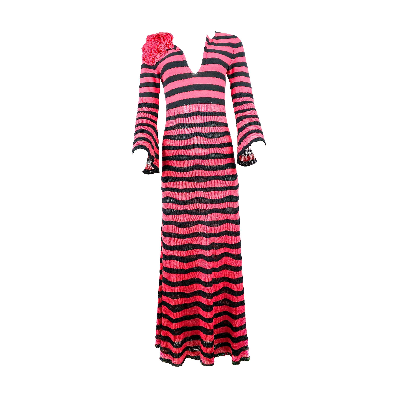 Sonia Rykiel Paris Pink and Navy Striped Maxi Dress w/ Flower Brooch Size 38