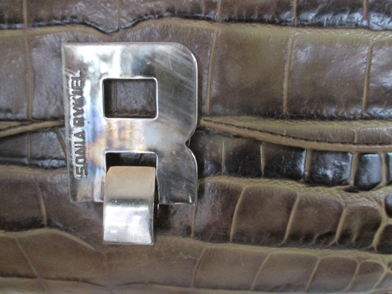 Black Sonia Rykiel Paris printed Embossed Leather Hand Bag For Sale