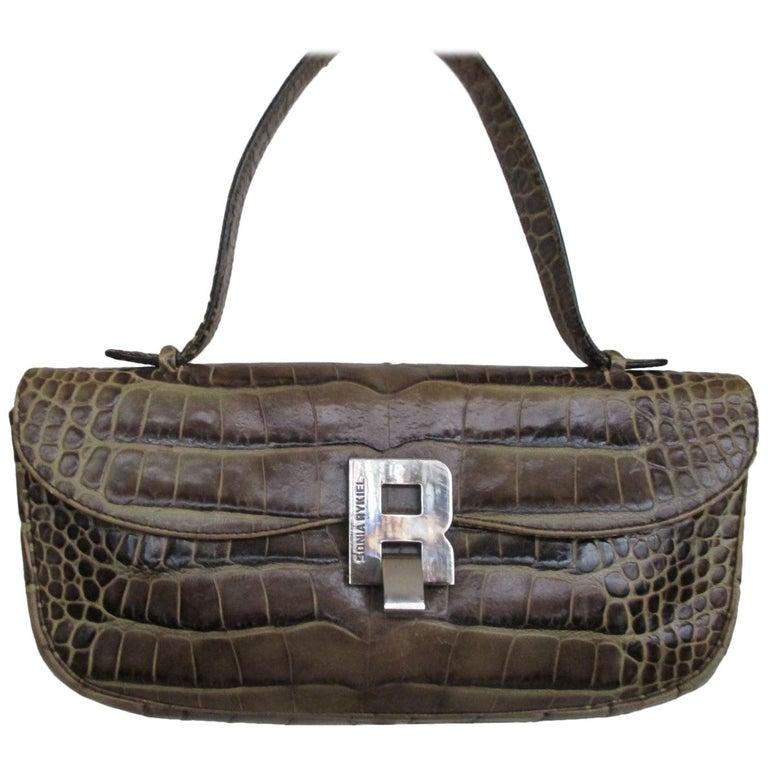 Sonia Rykiel Paris printed Embossed Leather Hand Bag For Sale
