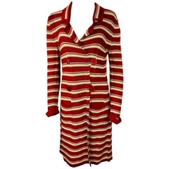 Sonia Rykiel Paris Red and White Knit Cotton Cardigan Sweater, Size 42