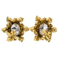 Sonia Rykiel Paris Signed Clip Earrings Gilt Metal Leaves with Huge Rhinestone