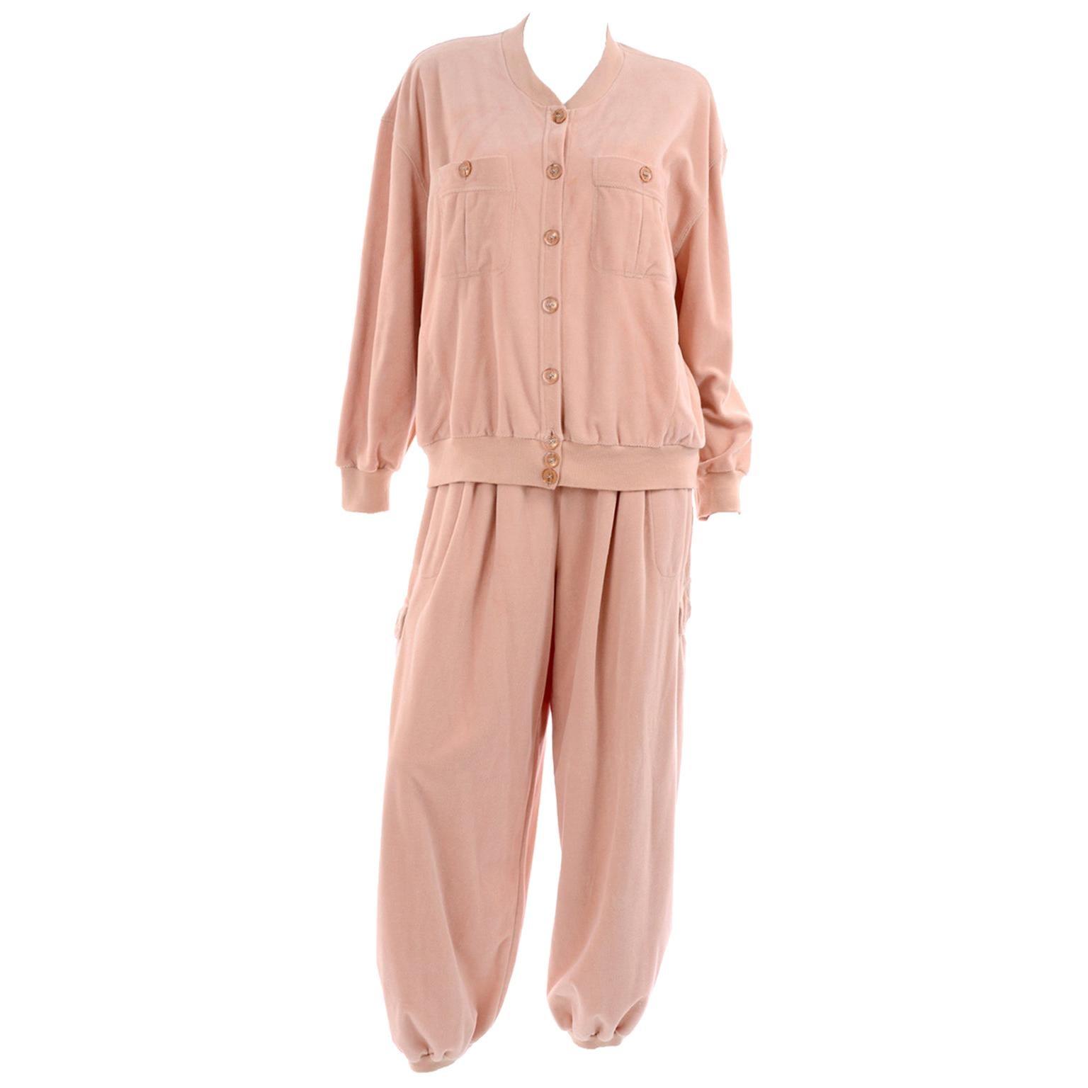 Sonia Rykiel Paris Vintage Peach Tracksuit Cozy Athleisure Outfit W Pants & Top