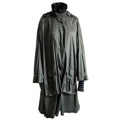 Sonia Rykiel Rain Coat with Hood, Striped Wool Collar & Cuffs Vintage