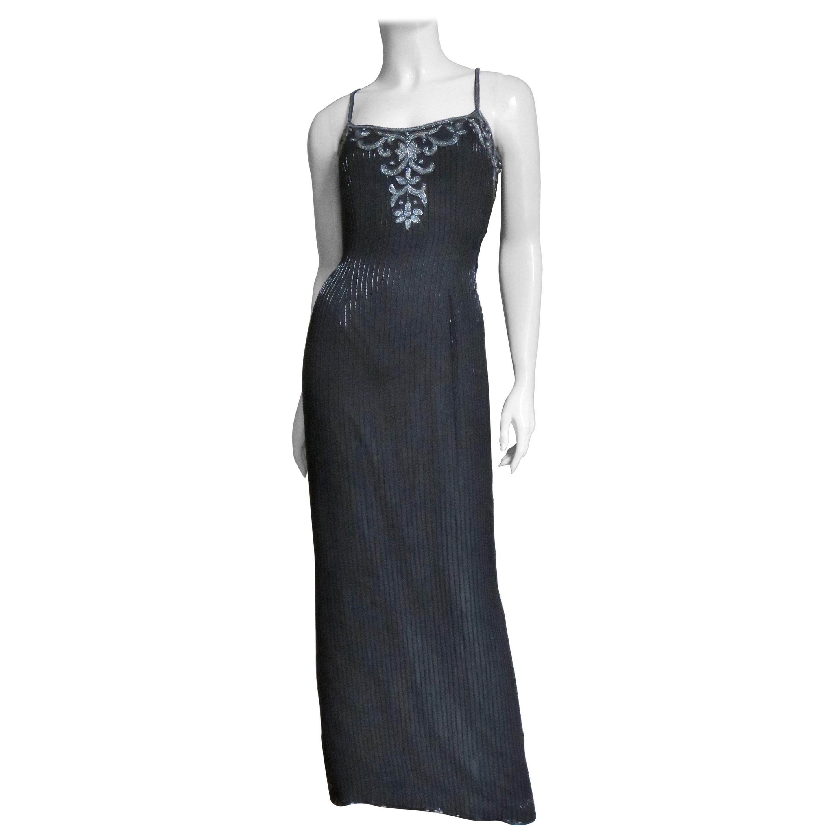 Sonia Rykiel Silk Beaded Gown with Sheer Back