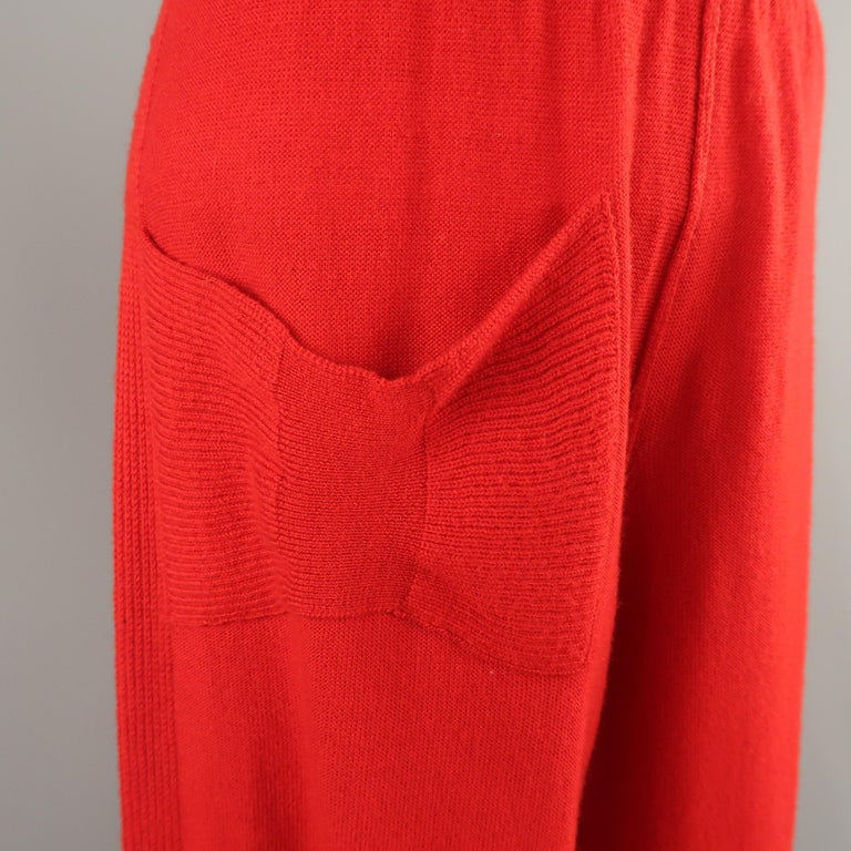 SONIA RYKIEL Size 6 Red Wool / Cashmere Knit Bow Wide Leg Pants In Good Condition For Sale In San Francisco, CA