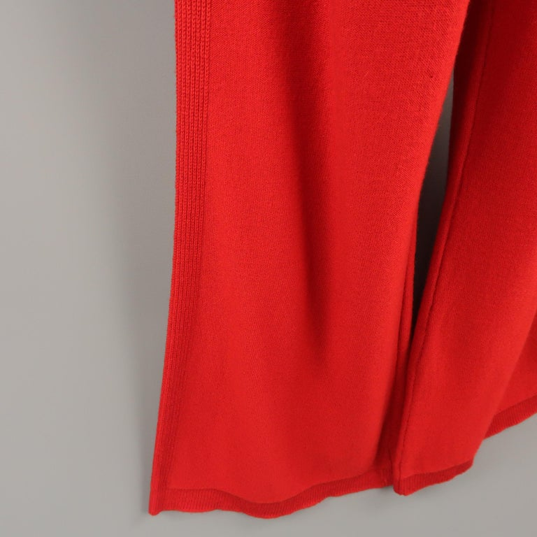 Women's  SONIA RYKIEL Size 6 Red Wool / Cashmere Knit Bow Wide Leg Pants For Sale