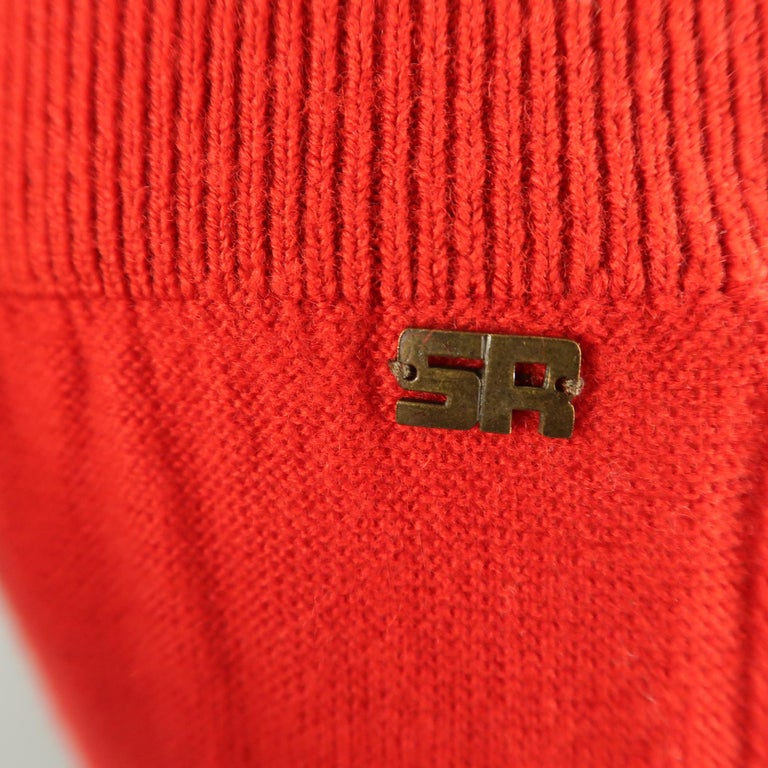 SONIA RYKIEL Size 6 Red Wool / Cashmere Knit Bow Wide Leg Pants For Sale 2