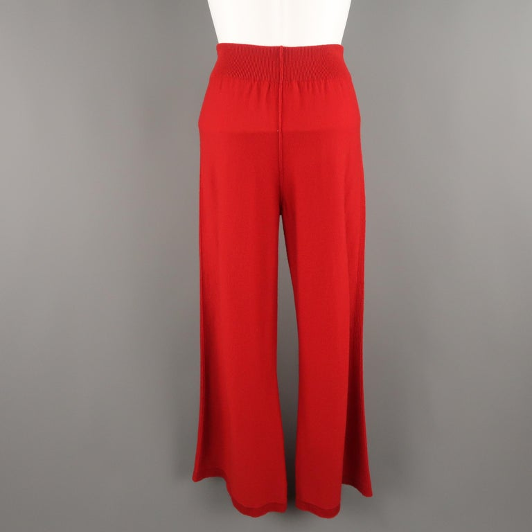SONIA RYKIEL Size 6 Red Wool / Cashmere Knit Bow Wide Leg Pants For Sale 3