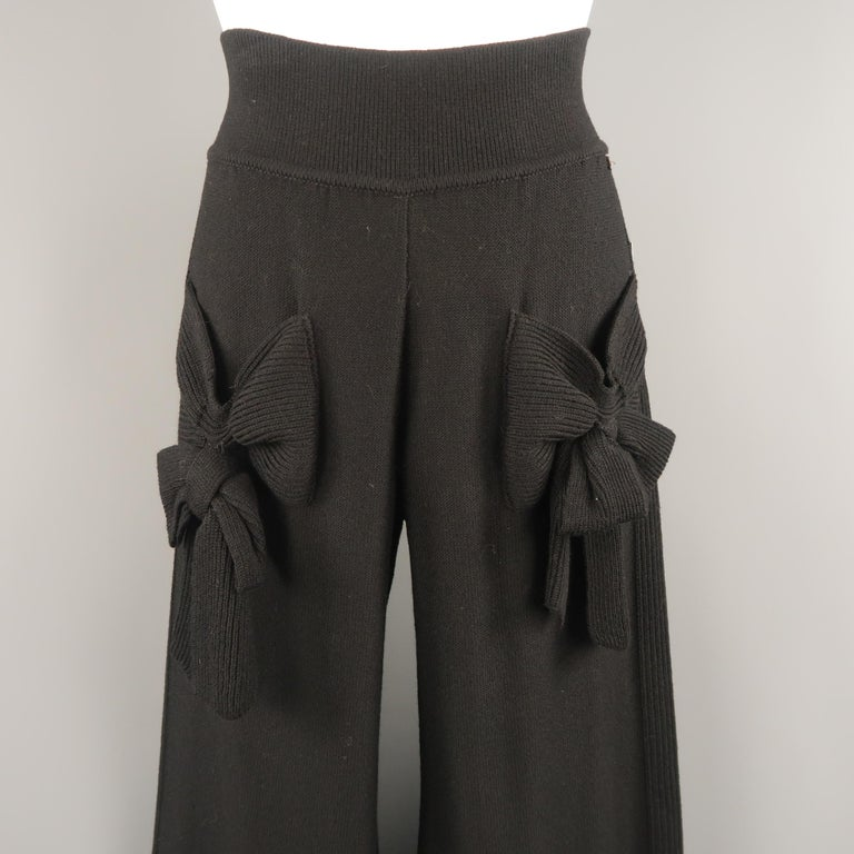 SONIA RYKIEL Size 8 Black Virgin Wool Blend Knit Wide Leg Bow Pants In Good Condition For Sale In San Francisco, CA