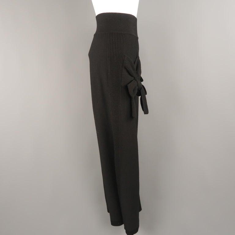 SONIA RYKIEL Size 8 Black Virgin Wool Blend Knit Wide Leg Bow Pants For Sale 1