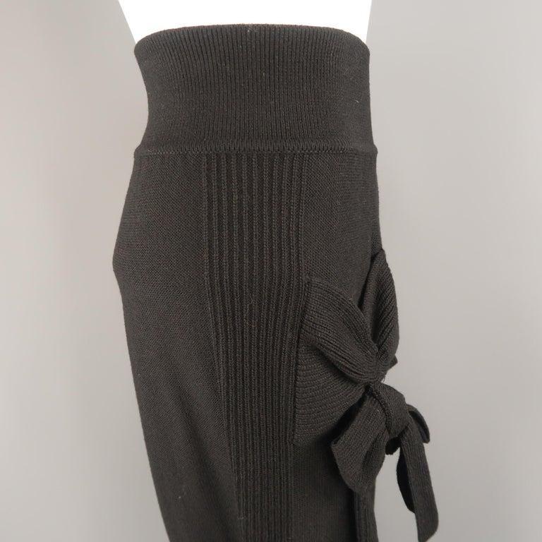 SONIA RYKIEL Size 8 Black Virgin Wool Blend Knit Wide Leg Bow Pants For Sale 2