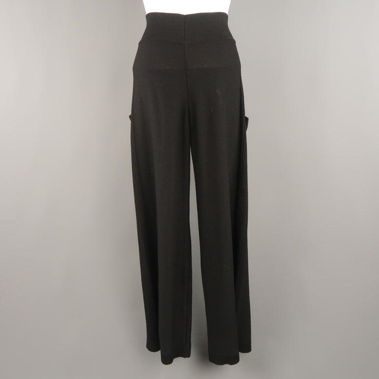 SONIA RYKIEL Size 8 Black Virgin Wool Blend Knit Wide Leg Bow Pants For Sale 3