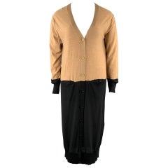 SONIA RYKIEL Size L Black / Beige Knitted Color Block Wool Cardigan