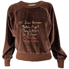 Sonia Rykiel Vintage Brown Velour Sweatshirt 1980s