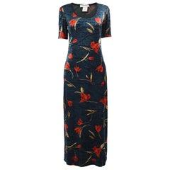 Sonia Rykiel Vintage Dark Blue Velour Maxi Dress