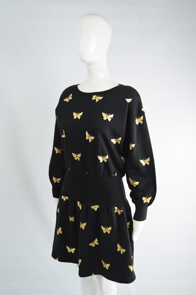 Women's Sonia Rykiel Vintage Gold Butterfly Print Flared Skirt Sweatshirt Dress, 1980s For Sale