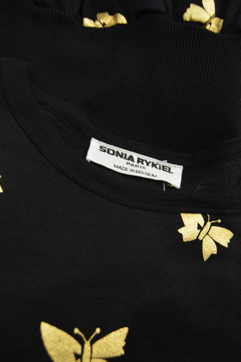 Sonia Rykiel Vintage Gold Butterfly Print Flared Skirt Sweatshirt Dress, 1980s For Sale 2