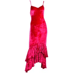 Sonia Rykiel Vintage Raspberry Pink Crushed Velvet Dress W/ Ruffled High Low Hem