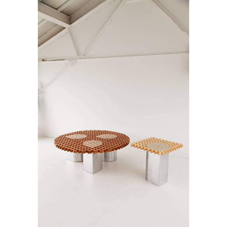 Modern Sonia Side Table or Coffee Table, Bass Wood and Aluminum For Sale