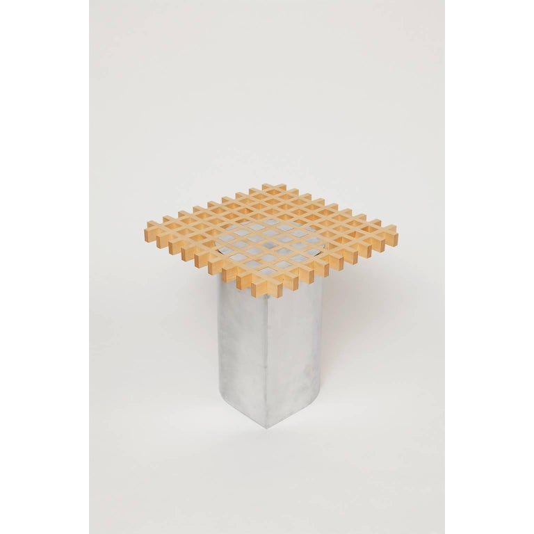 Sonia Side Table or Coffee Table, Bass Wood and Aluminum In New Condition For Sale In Brooklyn, NY