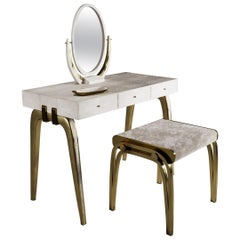 Sonia Vanity Set in Cream Shagreen and Bronze-Patina Brass by R&Y Augousti