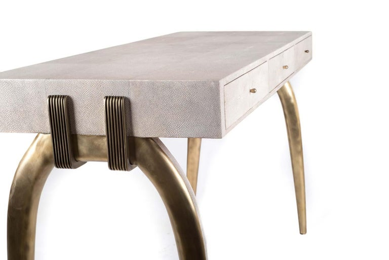 Hand-Crafted Sonia Writing Desk in Cream Shagreen and Bronze-Patina Brass by R&Y Augousti For Sale