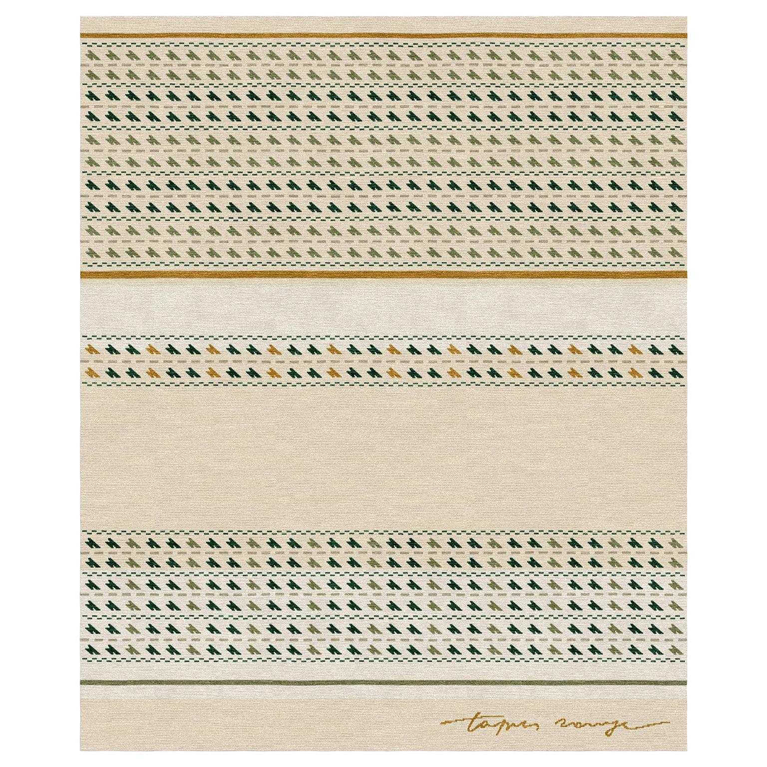 Sonico Tortora - Geometric Contemporary Hand Knotted Wool Bamboo Silk Rug