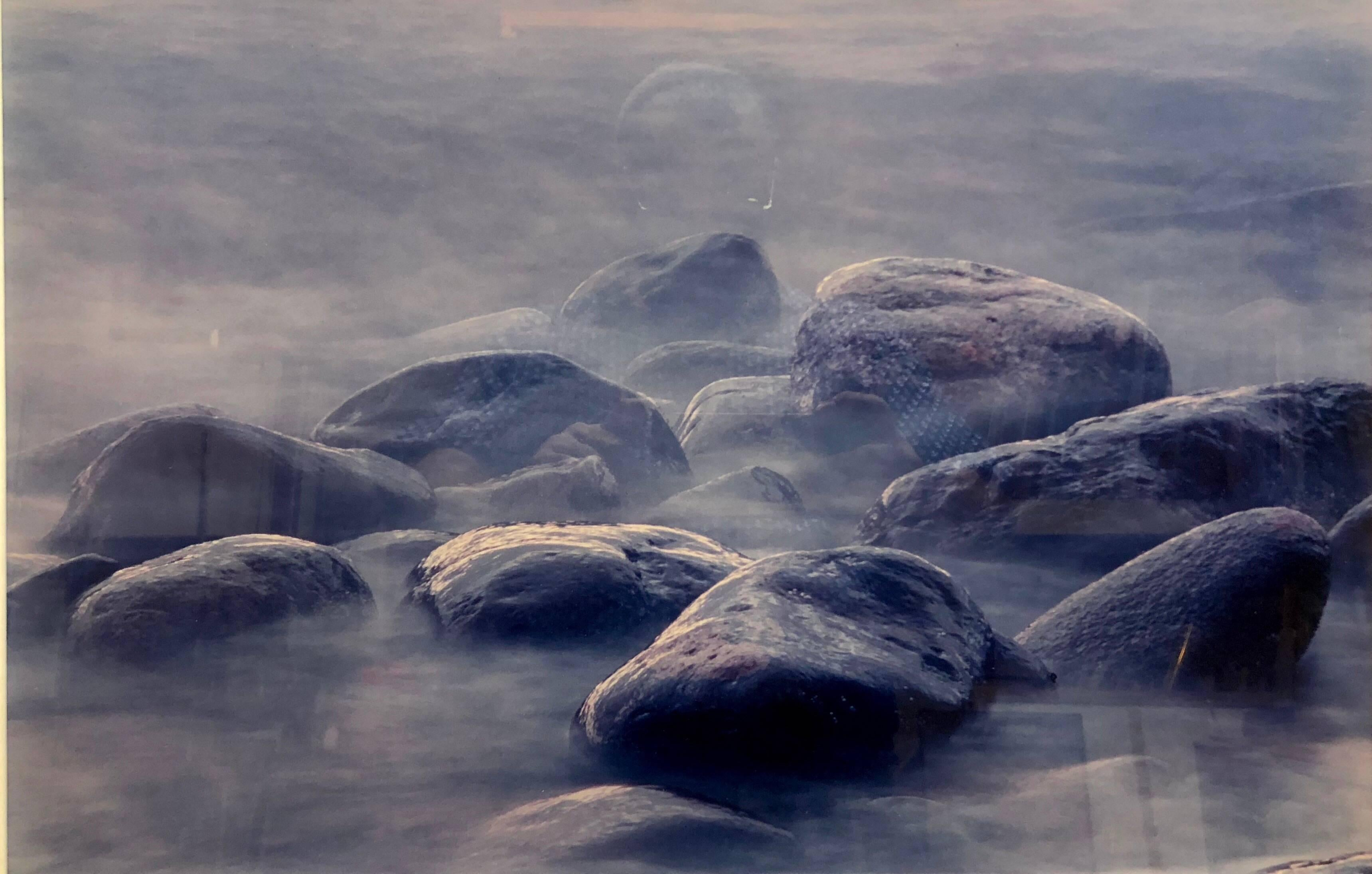 """Vintage C Print """"Of Time and Change"""" Boulders on a Sea Shore"""