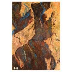 Sonja Henningsen, Danish Artist, Oil on Board, Abstract Modernist Composition