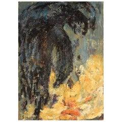 Sonja Henningsen, Danish Artist, Oil on Canvas, Abstract Modernist Composition