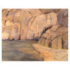 Sonja Henningsen, Danish Artist, Oil on Canvas, Landscape with Rock Formation