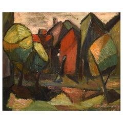 Sonja Ivarsson, Swedish Painter, Oil on Canvas, Cubist Landscape