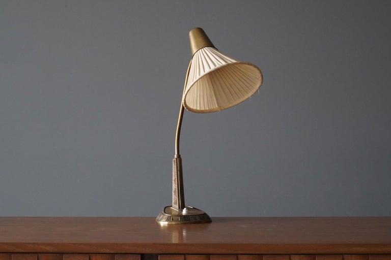Mid-Century Modern Sonja Katzin, Adjustable Table Lamp, Brass, Fabric, for ASEA, Sweden, 1950s For Sale