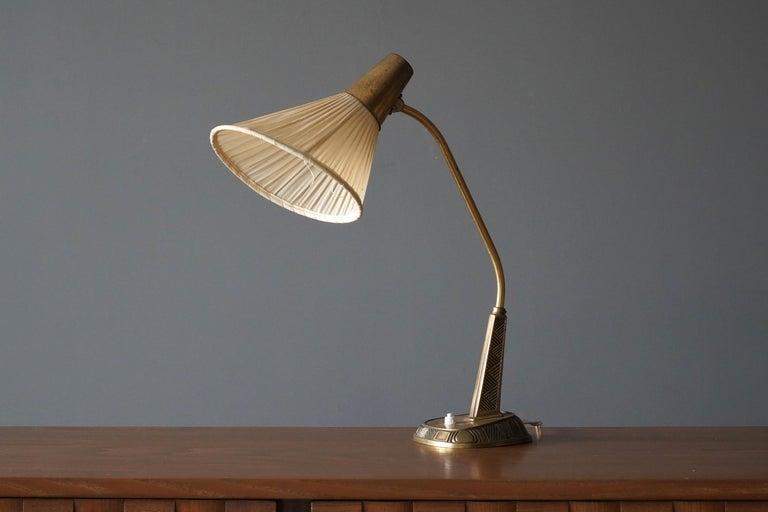 Swedish Sonja Katzin, Adjustable Table Lamp, Brass, Fabric, for ASEA, Sweden, 1950s For Sale