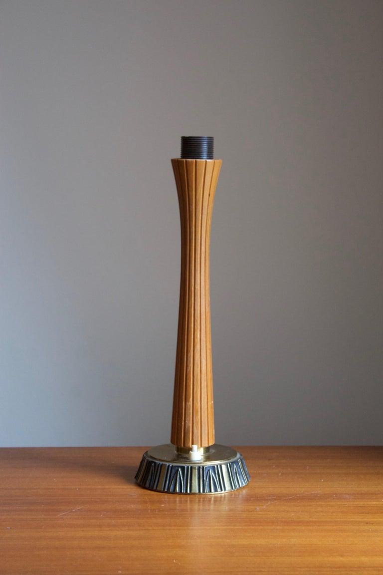 Mid-Century Modern Sonja Katzin, Table Lamp, Brass, Wood, for ASEA, Sweden, 1950s For Sale