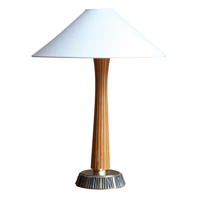 Sonja Katzin, Table Lamp, Brass, Wood, for ASEA, Sweden, 1950s For Sale