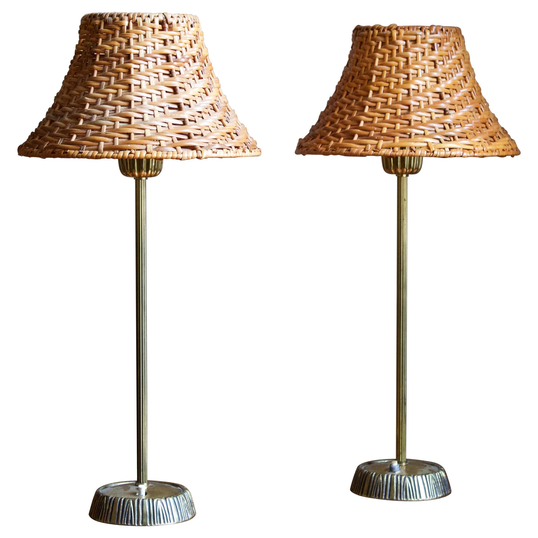 Sonja Katzin, Table Lamps, Brass, Rattan, for ASEA, Sweden, 1950s