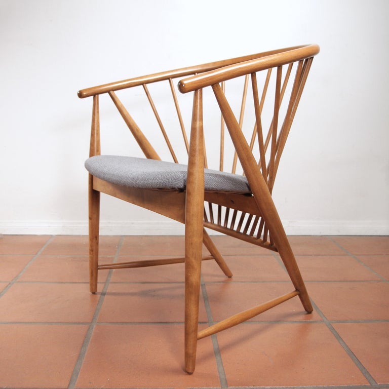 Mid-Century Modern Sonna Rosen Sun Feather Chair for Nassjo Stolfabrik of Sweden, 1948 For Sale