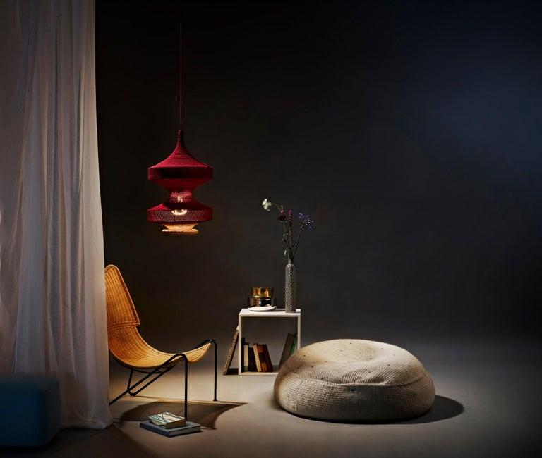 Scandinavian Modern Sonne ø60 Pendant Light, Hand Crocheted in 100% Mercerized Egyptian Cotton For Sale