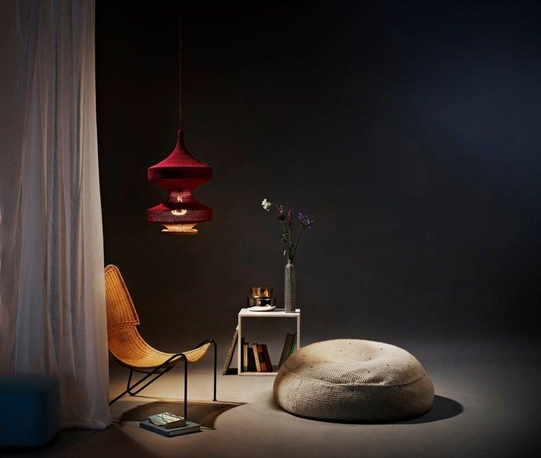 Scandinavian Modern Sonne Pendant Light, Hand Crocheted in 100% Mercerized Egyptian Cotton For Sale