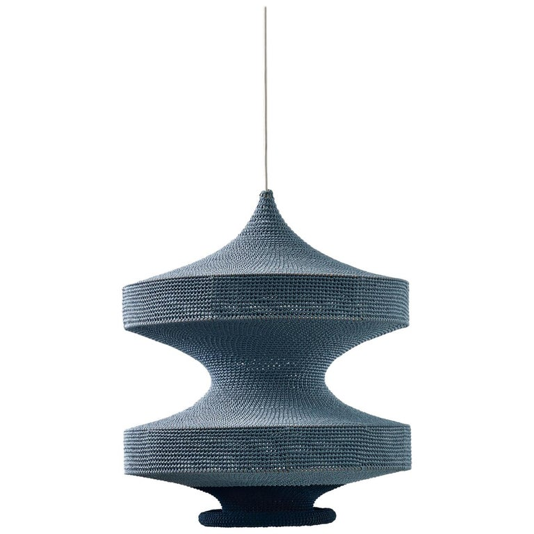 Sonne ø60 Pendant Light, Hand Crocheted in 100% Mercerized Egyptian Cotton For Sale