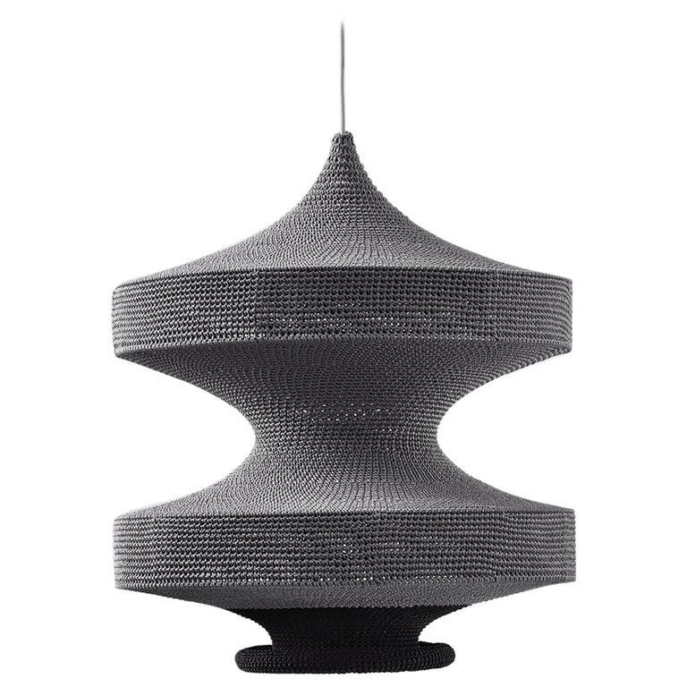 Sonne Pendant Light, Hand Crocheted in 100% Mercerized Egyptian Cotton For Sale