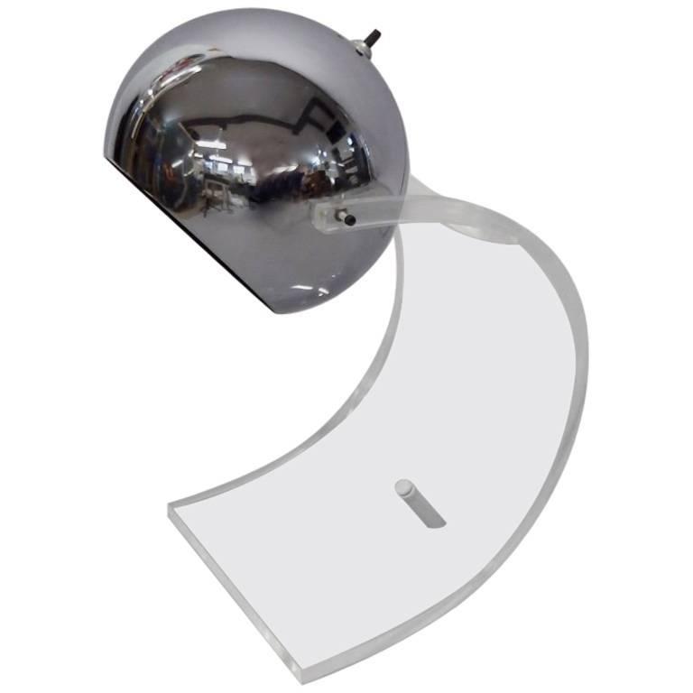 Sonneman Swivel Chrome Ball Lamp with Lucite Base For Sale