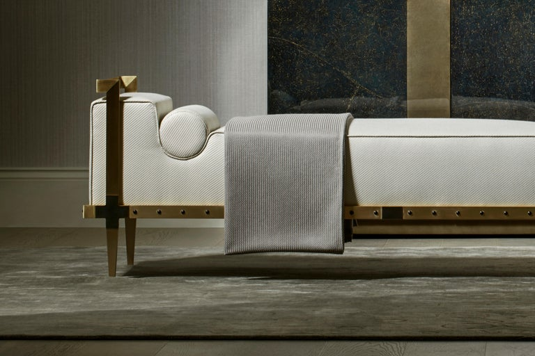 Sonnet Bench, Contemporary Upholstered Solid Brass Bench with Bronze Details 2