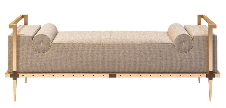 Sonnet Bench, Contemporary Upholstered Solid Brass Bench with Bronze Details 6