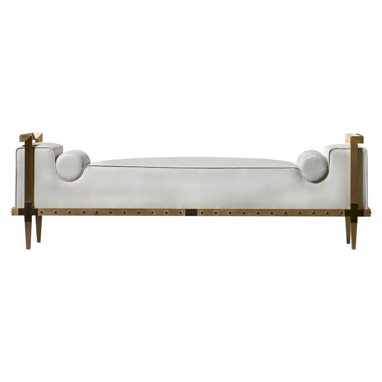 Sonnet Bench, Contemporary Upholstered Solid Brass Bench with Bronze Details 1