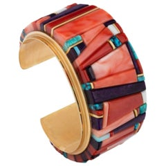 Sonwai Old Cuff Bangle with a Mosaic of Gemstone Plaques, circa 1991