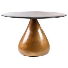 Sonya Dining Table in Bronze and Ebonized Walnut